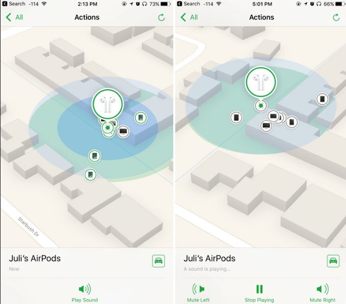 Use Find My iPhone to find AirPods and Apple Watch